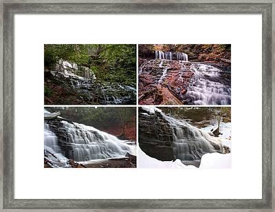 Mohawk Falls In Every Season Framed Print by Gene Walls
