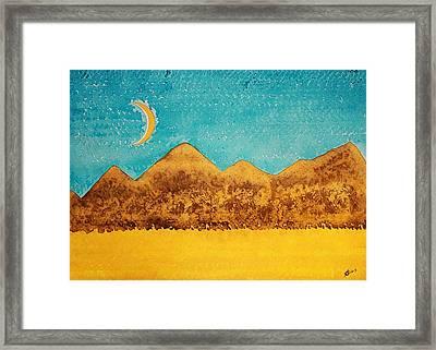 Mojave Moonrise Original Painting Framed Print by Sol Luckman