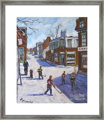 Molasses Town Hockey Rivals In The Streets Of Montreal By Pranke Framed Print by Richard T Pranke