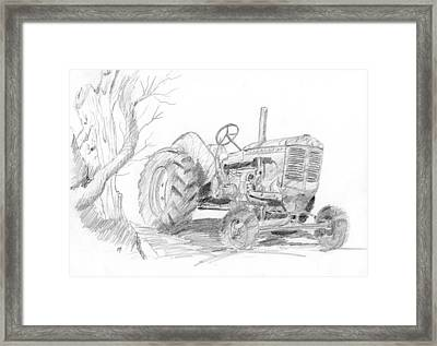 Sketchy Tractor Framed Print by David King