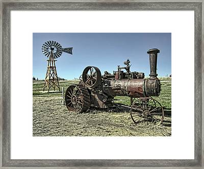 Molson Washington Ghost Town Steam Tractor And Wind Mill Framed Print by Daniel Hagerman