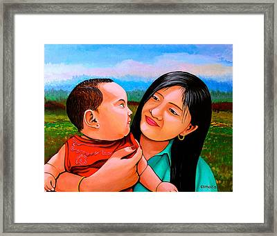 Mom And Babe Framed Print by Cyril Maza