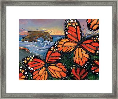 Monarch Butterflies At Natural Bridges Framed Print by Jen Norton