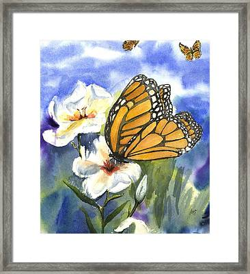 Monarchs In The Gardens Framed Print by Maria Hunt
