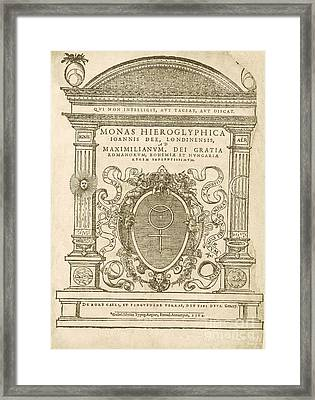Monas Hieroglyphica (1564) Framed Print by Library Of Congress