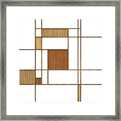 Mondrian In Wood Framed Print by Yo Pedro