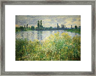 Monet's Banks Of The Seine At Vetheuil Framed Print by Cora Wandel