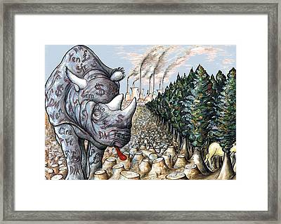 Money Against Nature - Cartoon Framed Print by Art America Online Gallery