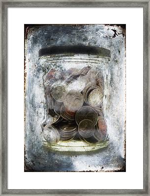 Money Frozen In A Jar Framed Print by Skip Nall