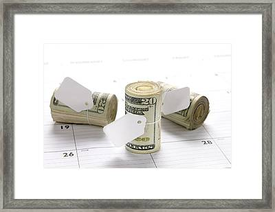 Money Rolls On Calendar Framed Print by Joe Belanger