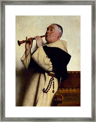 Monk Playing A Clarinet Framed Print by Ture Nikolaus Cederstrom