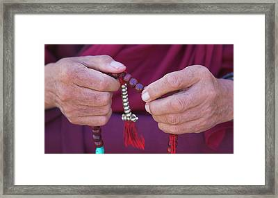 Monk Praying With Beads, Phyang Gompa Framed Print by Keren Su