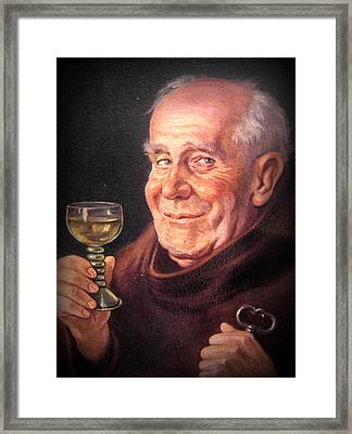 Monk With Wineglass And Key Framed Print by The Creative Minds Art and Photography