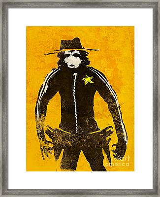 Monkey Sheriff Framed Print by Pixel Chimp