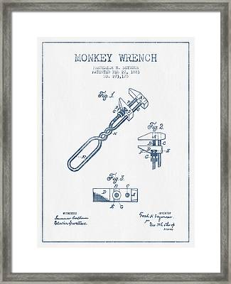 Monkey Wrench Patent Drawing From 1883- Blue Ink Framed Print by Aged Pixel