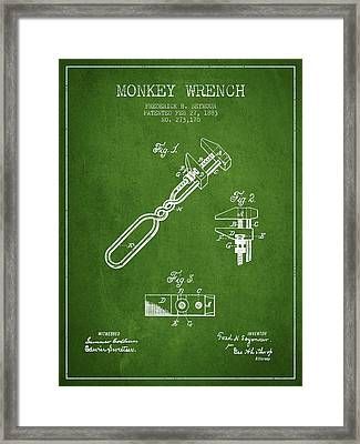 Monkey Wrench Patent Drawing From 1883 - Green Framed Print by Aged Pixel