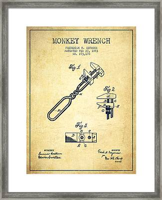 Monkey Wrench Patent Drawing From 1883 - Vintage Framed Print by Aged Pixel