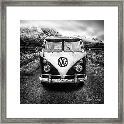 Mono Vw Camper Scotland  Framed Print by John Farnan