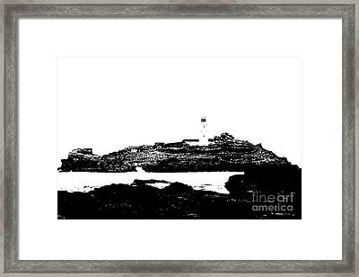 Monochromatic Godrevy Island And Lighthouse Framed Print by Terri Waters