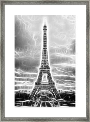 Monochrome Eiffel Tower Fractal Framed Print by Pati Photography