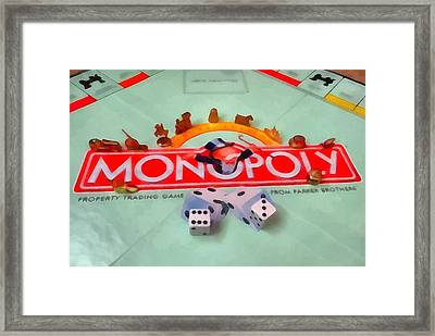 Monopoly Board Game Framed Print by Dan Sproul