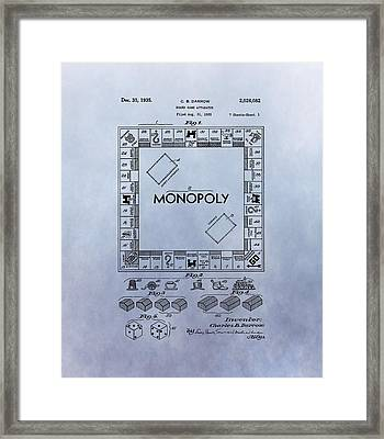 Monopoly Board Game Patent Framed Print by Dan Sproul