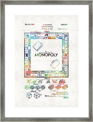 Monopoly Game Board Vintage Patent Art - Sharon Cummings Framed Print by Sharon Cummings