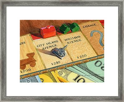 Monopoly On City Island Avenue Framed Print by Marguerite Chadwick-Juner