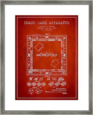 Monopoly Patent From 1935 - Red Framed Print by Aged Pixel
