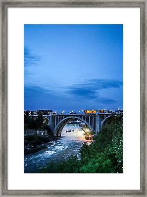 Monroe St Bridge At Sunset Framed Print by Daniel Baumer