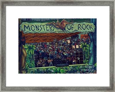 Monsters Of Rock Stage While A C D C Started Their Set - July 1979 Framed Print by Daniel Larsen