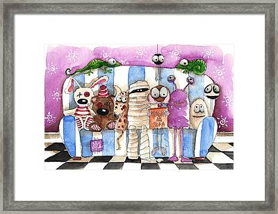 Monsters On A Sofa Framed Print by Lucia Stewart