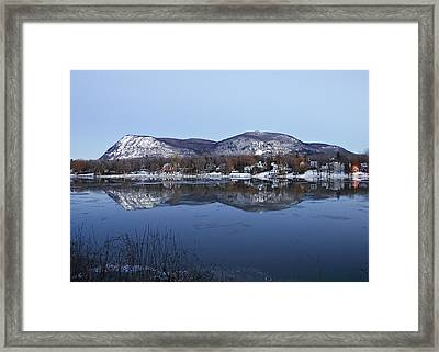 Mont St. Hilaire Mirror Image - Full View Framed Print by Rick Shea