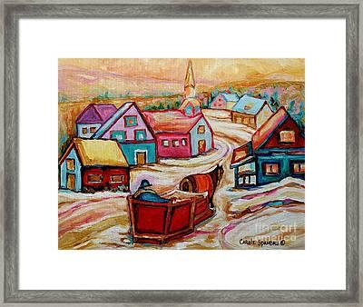 Mont St.hilaire Going Towards The Village Quebec Winter Landscape Paintings Carole Spandau Framed Print by Carole Spandau