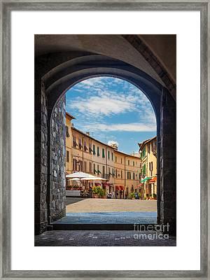 Montalcino Loggia Framed Print by Inge Johnsson