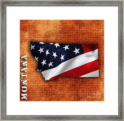 Montana American Flag State Map Framed Print by Marvin Blaine