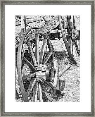 Montana Old Wagon Wheels Monochrome Framed Print by Jennie Marie Schell