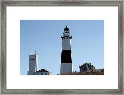 Montauk Lighthouse As Seen From The Beach Framed Print by John Telfer