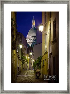Montmartre Street And Sacre Coeur Framed Print by Inge Johnsson