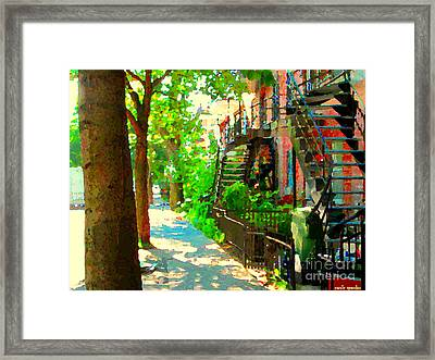 Montreal Art Colorful Winding Staircase Scenes Tree Lined Streets Of Verdun Art By Carole Spandau Framed Print by Carole Spandau