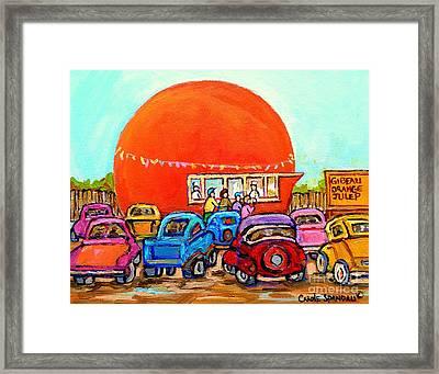 Montreal Art Orange Julep Paintings Montreal Summer City Scenes Carole Spandau Framed Print by Carole Spandau