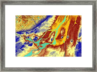 Montreal Map Art Framed Print by Paul Hein