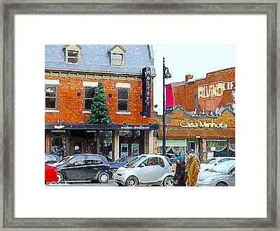 Montreal Memories Moishes Famous Steakhouse Restaurant On The Main Busy Winter Scene Carole Spandau Framed Print by Carole Spandau