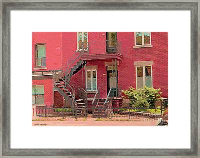 Montreal Memories The Old Neighborhood Timeless Triplex With Spiral Staircase City Scene C Spandau  Framed Print by Carole Spandau