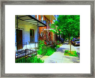 Montreal Stairs Shady Streets Winding Staircases In Balconville Art Of Verdun Scenes Carole Spandau Framed Print by Carole Spandau