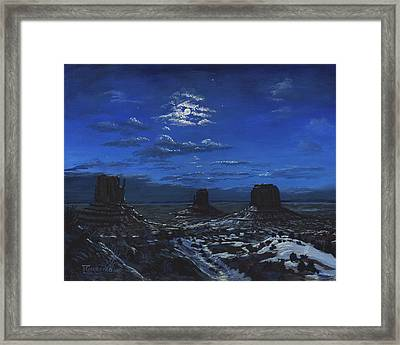 Monument Valley By Moon Light Framed Print by Timithy L Gordon