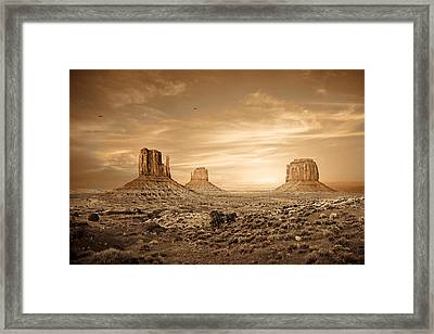 Monument Valley Golden Sunset Framed Print by Susan  Schmitz