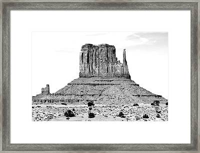 Monument Valley Mitten Monolith Scenic Landscape Black And White Conte Crayon Digital Art Framed Print by Shawn O'Brien