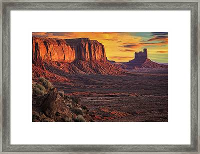 Monument Valley Sunrise Framed Print by Priscilla Burgers