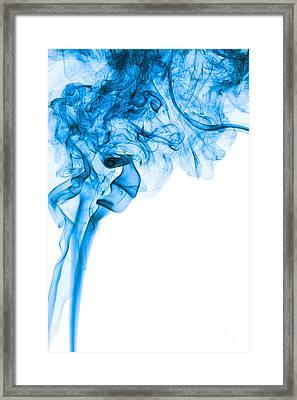 Abstract Vertical Deep Blue Mood Colored Smoke Art 03 Framed Print by Alexandra K